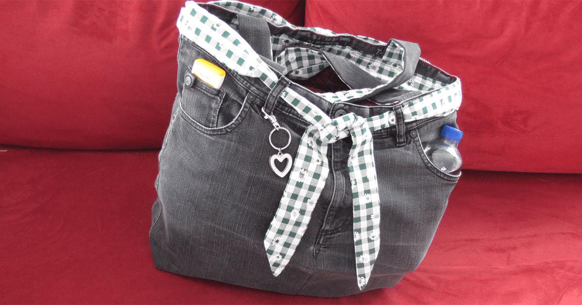 Einfache Tasche nähen aus einer alten Jeans