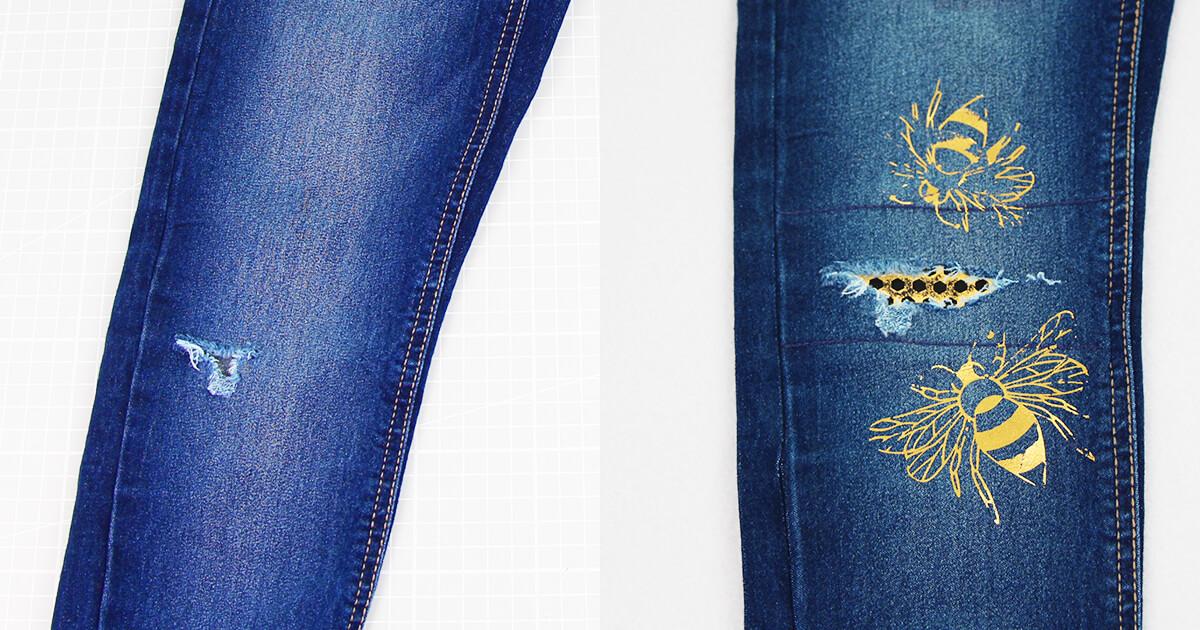 Jeans am Knie flicken mit Biene