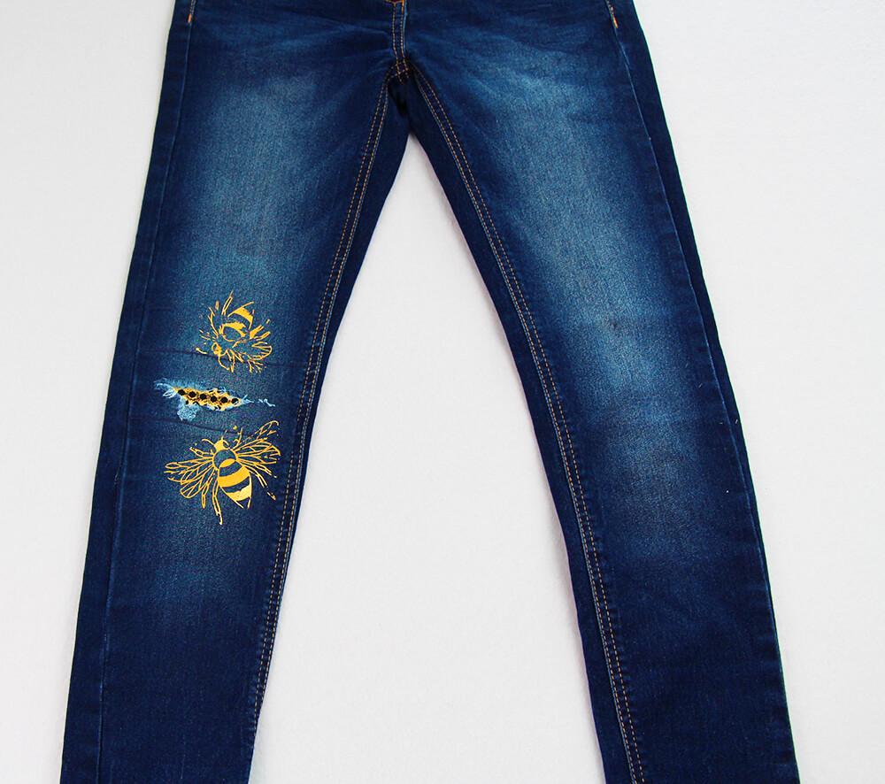 Jeans am Knie flicken - 06 beplottete Hose
