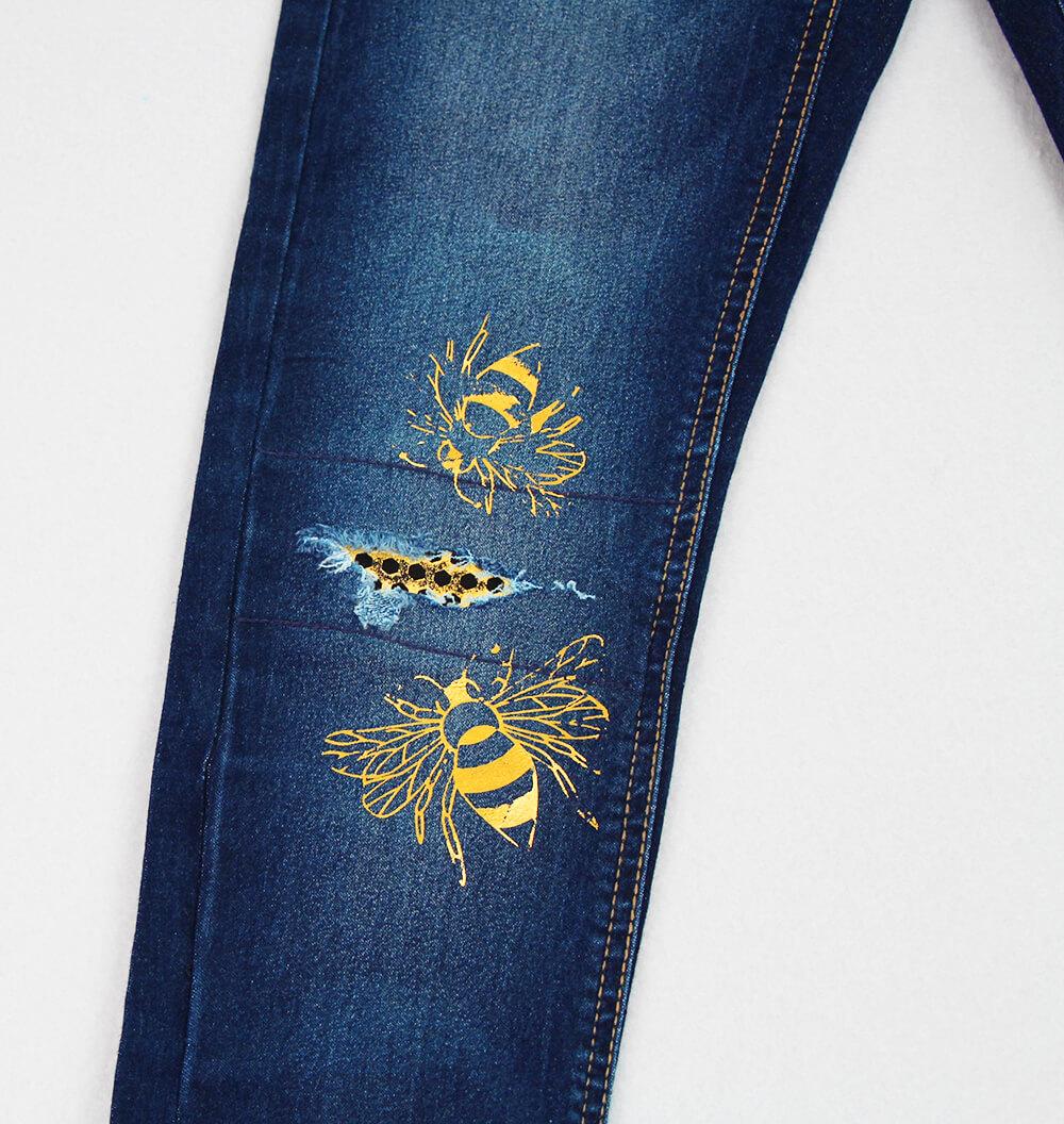 Jeans am Knie flicken - 07 Beplottete Hose