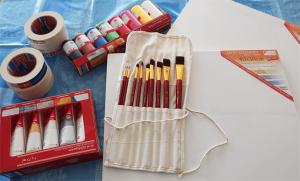 Material: Acrylfarben, Effektpaste, Pinsel, Malerkrepp, Leinwand