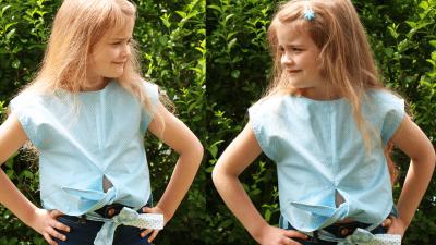 Kinder Bluse nähen zum Binden von einem Burda Schnittmuster