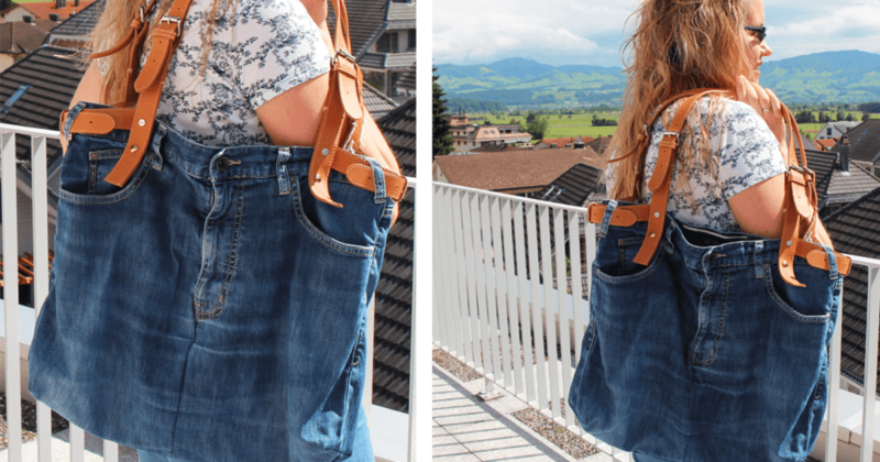 Tasche nähen aus einer alten Jeans mit Lederriemen