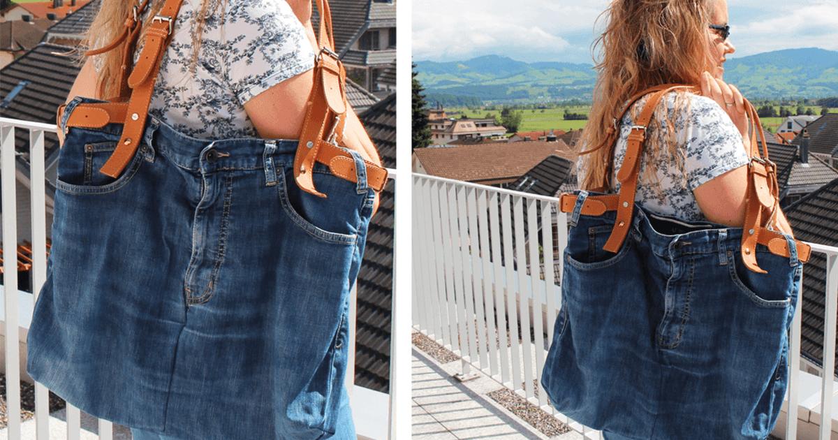 Tasche Aus Einer Alten Jeans Mit Ledergurten Upcycling Cheznu Tv