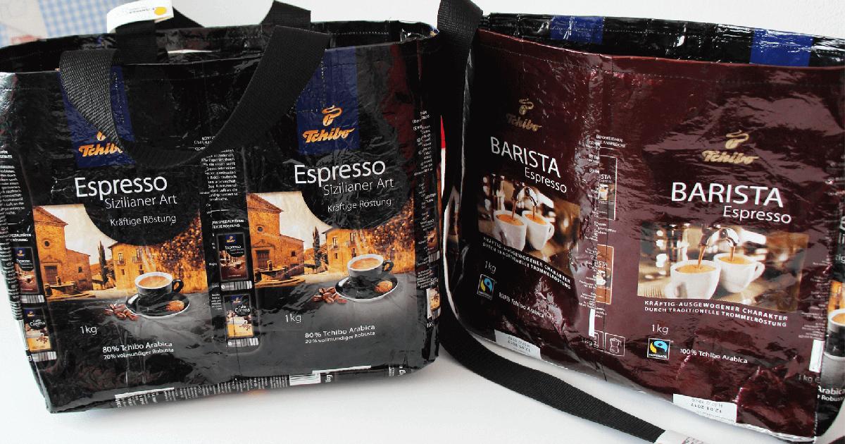 Tasche nähen aus Tschibo-Kaffeeverpackungen