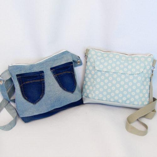 Handtasche Milano Schnittmuster - genäht aus einer alten Jeans und klassik nebeneinander