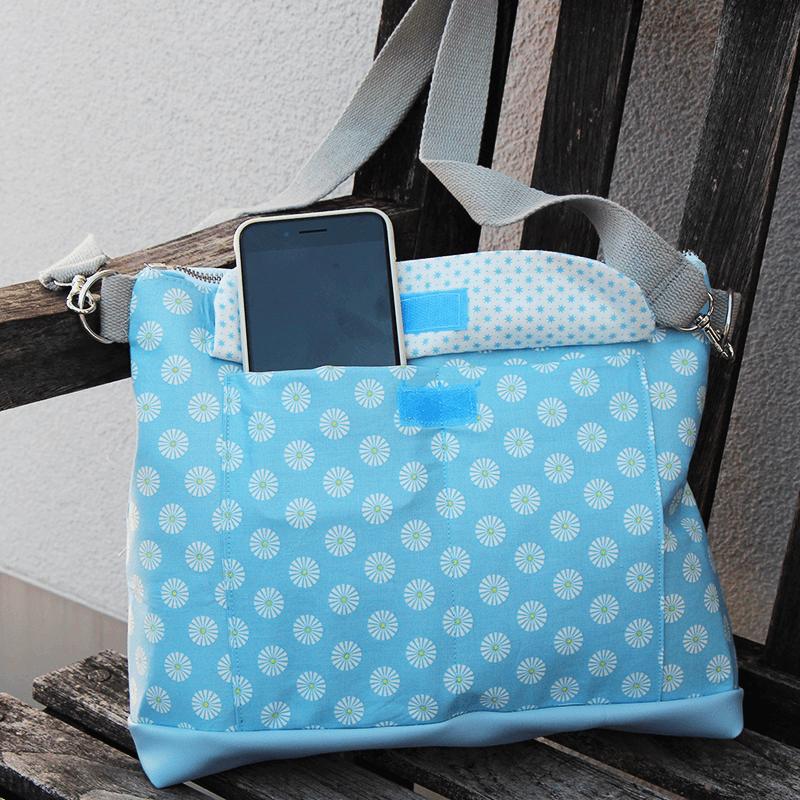 Handtasche nähen mit vielen Innentaschen - Schnittmuster zum Herunterladen und Ausdrucken