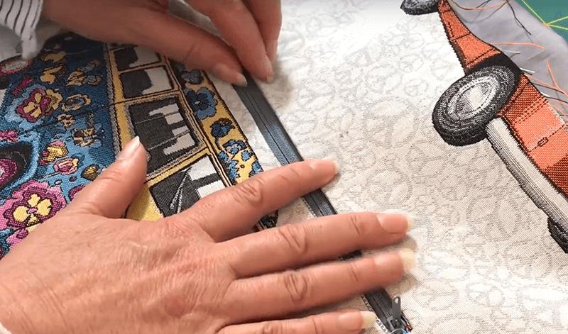Tasche nähen mit Eingrifftasche - 06 Reissverschluss untersteppen