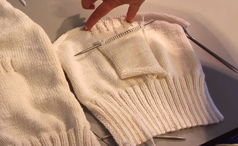 Eingestrickte Tasche stricken - 2 Taschenbeutel