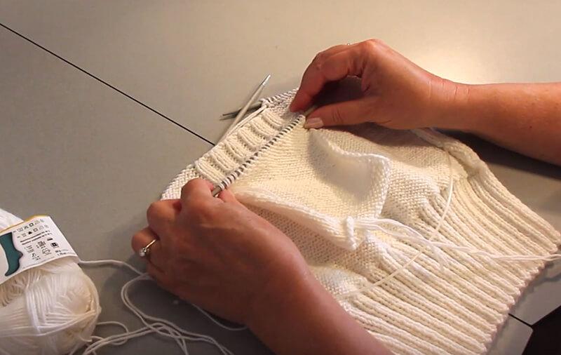 Eingestrickte Tasche stricken - 3 Taschenbeutel