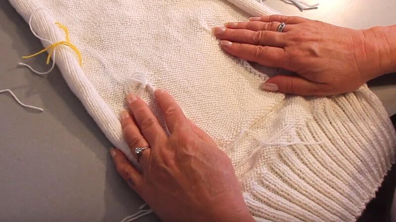 Eingestrickte Tasche stricken - 5 Taschenbeutel annähen