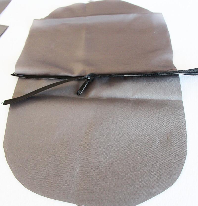 Crossbag Rucksack Slingbag nähen 03 Aussentasche Reissverschluss