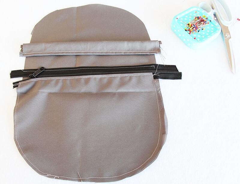 Crossbag Rucksack Slingbag nähen 04 Aussentasche Reissverschluss Blende