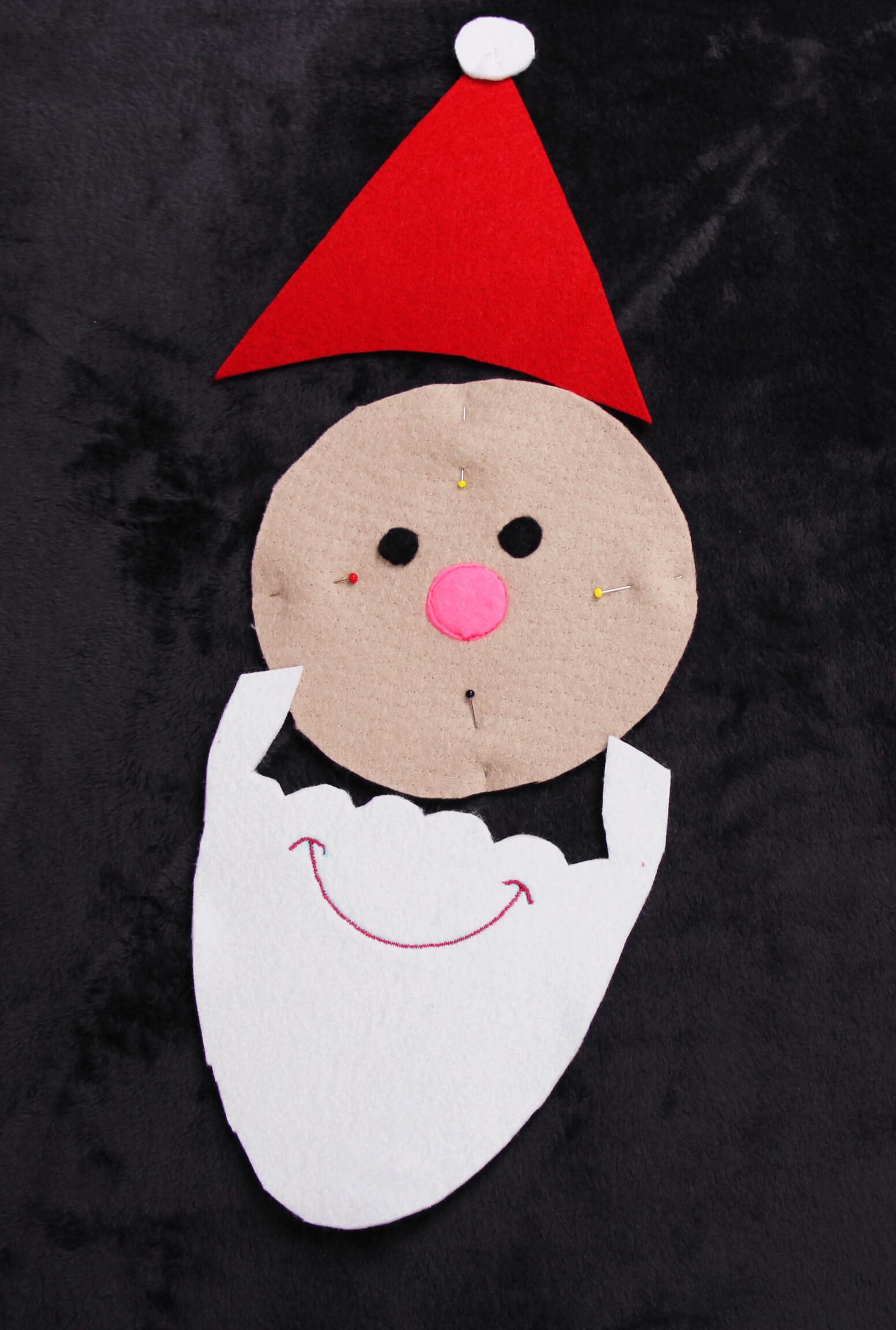 Nähen für Advent - Nikolaus applizieren 04 Teile aufnähen