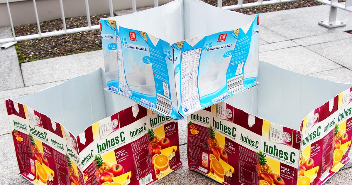 Tetrapack Upcycling Anleitung Box aus Tetrapack nähen 1