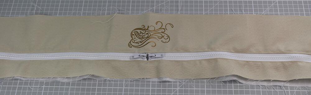 Tasche mit Reißverschluss nähen für IKEA Godmorgon - 11 Reissverschluss einnähen