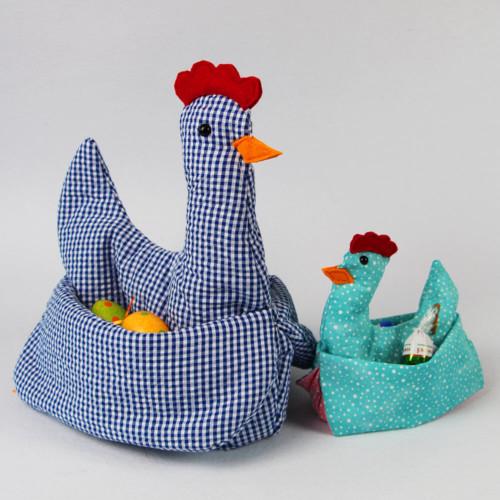 Osterdeko Huhn Henriette Schnittmuster in 2 Grössen - beide Hühner
