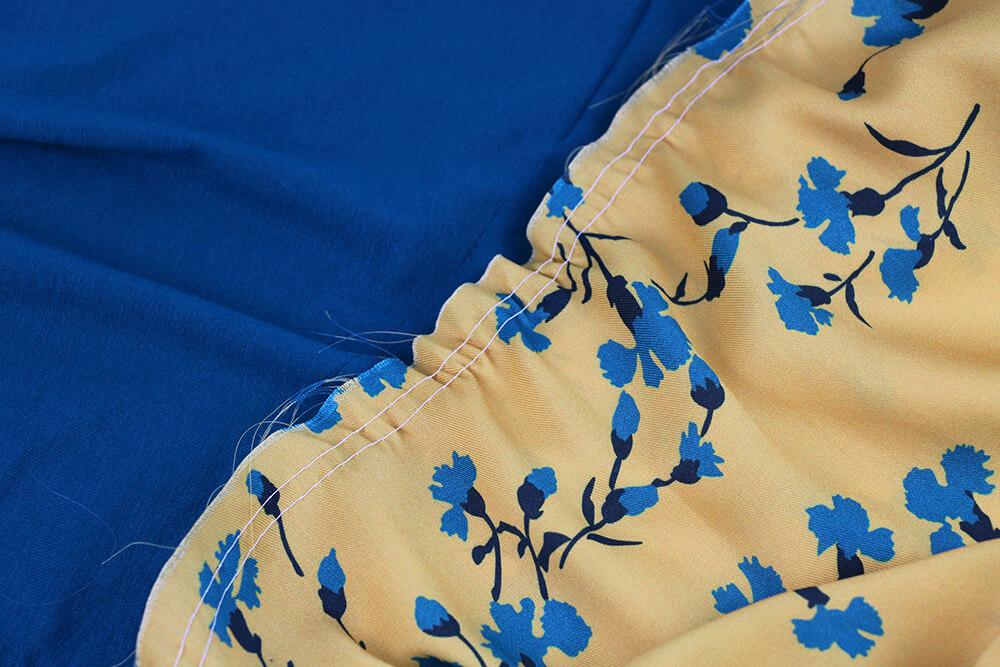 Einfaches Kleid nähen für Anfänger - 17 Rock raffen