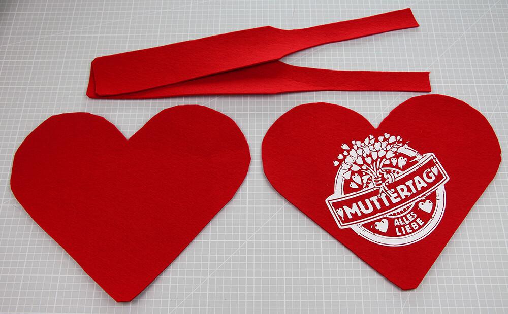 Herzförmige Geschenktasche nähen für Muttertag - 01 Material