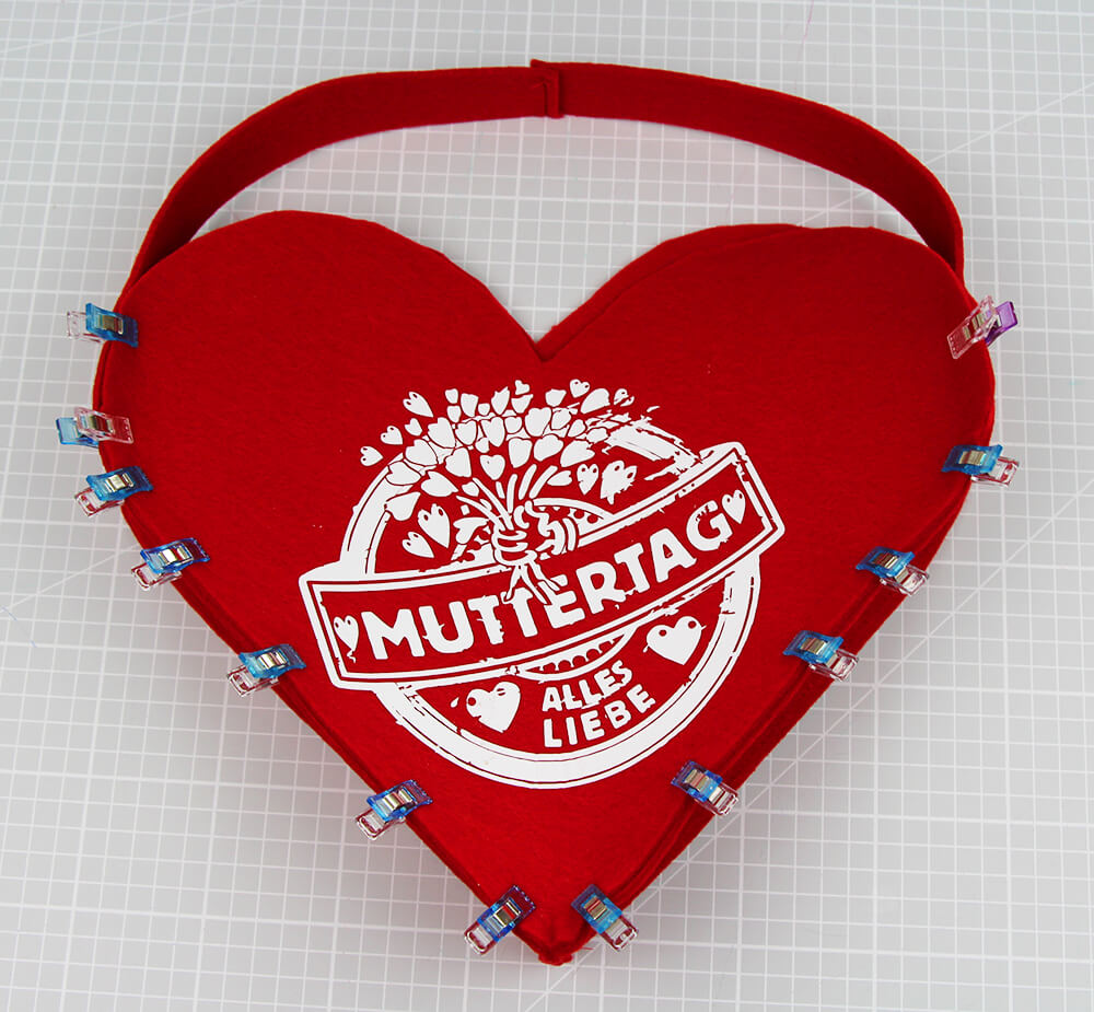 Herzförmige Geschenktasche nähen für Muttertag - 05 Täschchen