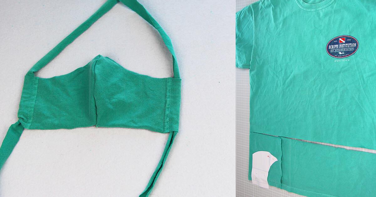 Mundschutz nähen aus Shirts mit nur einer Naht