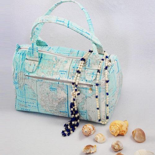 Handtasche Sylt Schmittmuster mit Muscheln und Perlen